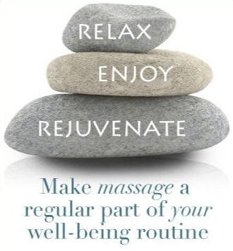 three rocks stacked with the words relax, enjoy, rejuvenate which is a mobile massage quote