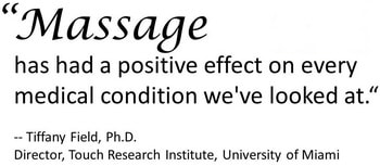 doctor quote saying, massage has had a positive effect on every medical condition we've looked at